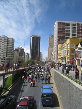 Bloqueo en La Paz, Bolivia.