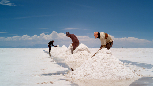 A scene from Salero: Moises Chambi Yucra and his brothers at work on the Salar de Uyuni.